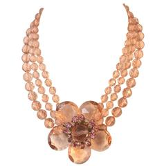 Miriam Haskell 1950s Pink Floral Choker Necklace