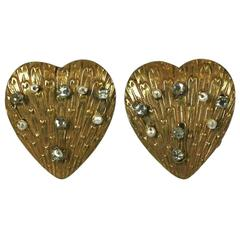 Miriam Haskell Heart Earclips