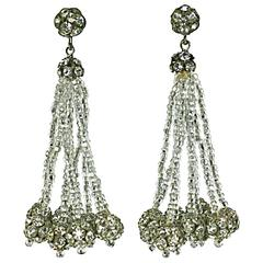 Vogue Seed Bead and Pave Ball Tassel Earrings