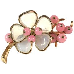 1940s Trifari Poured Glass Cherry Tree Blossom Brooch