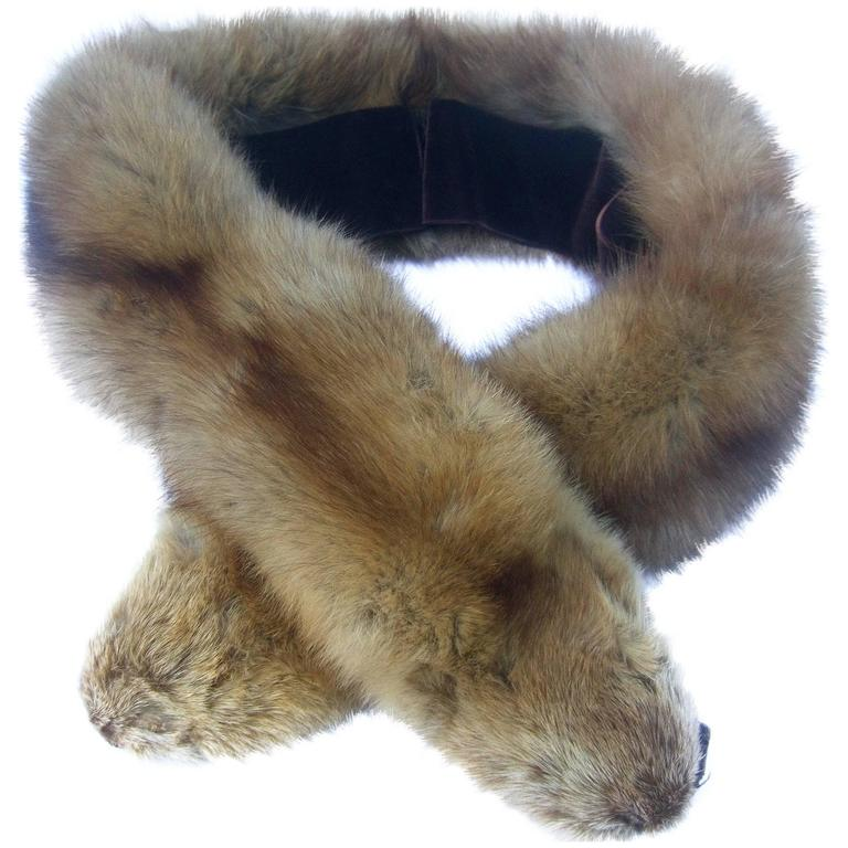 Luxurious Plush Sable Fur Collar ca 1960s  For Sale