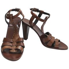 Vintage Max Mara Brown T Strap Sandals