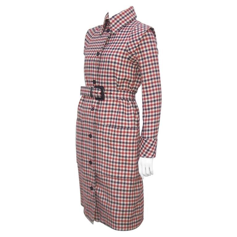 Futuristic 1960's Geoffrey Beene Brown Wool Plaid Coat Dress