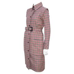 Futuristic 1960's Geoffrey Beene Brown Wool Plaid Coat Dress