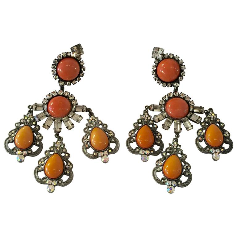 21st Century Lawrence Vrba Mammoth Coral and Tangerine  Drop Earrings For Sale