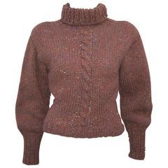 C.1980 Perry Ellis Hand Knitted Brown Tweed Turtleneck Sweater