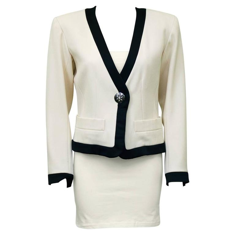 1980s Yves Saint Laurent/YSL Cream Cropped Jacket with Black Satin Trim  1
