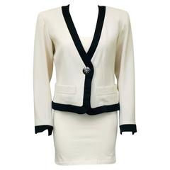1980s Yves Saint Laurent/YSL Cream Cropped Jacket with Black Satin Trim