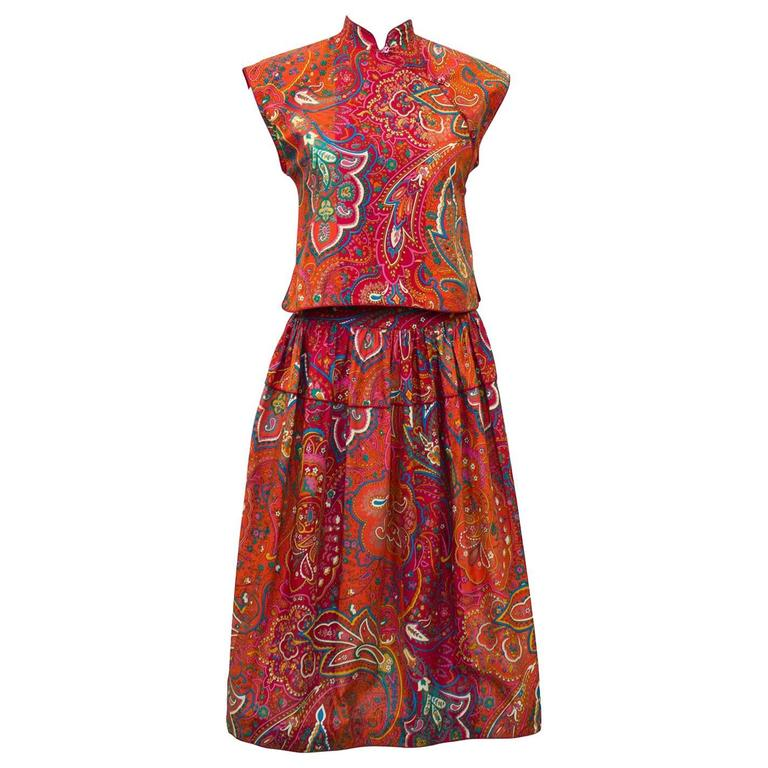 1970's Kenzo Paris Paisley Cotton Top and Skirt Ensemble  For Sale