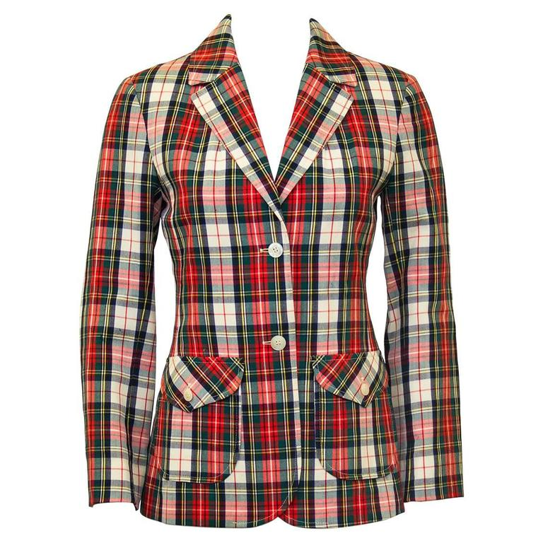 1960's Young Pendleton Red Tartan Wool Blazer  1