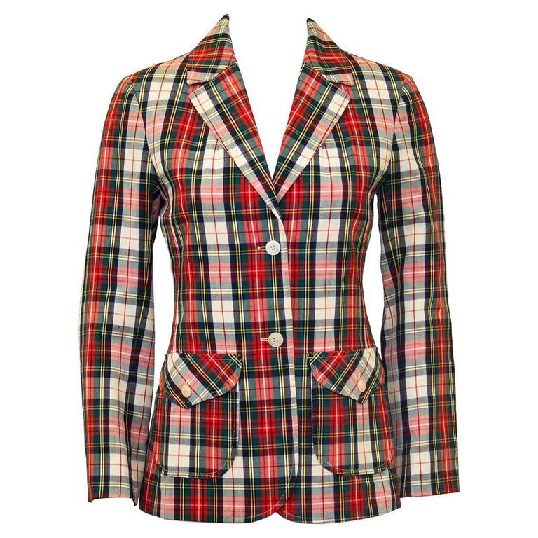 1960's Young Pendleton Red Tartan Wool Blazer  For Sale