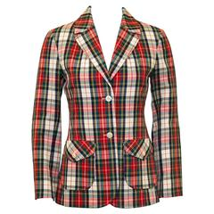 1960's Young Pendleton Red Tartan Wool Blazer