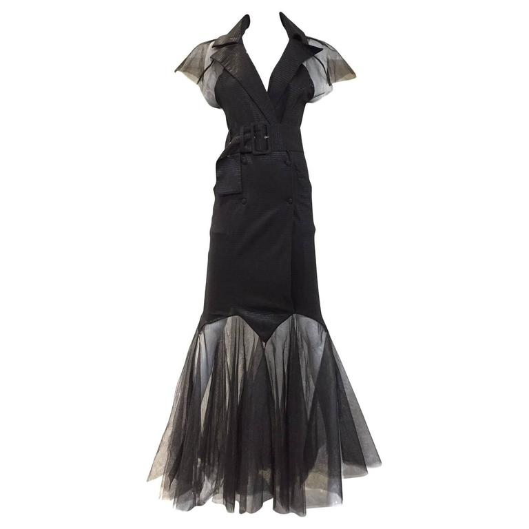 Incredible KARL LAGERFELD Black Knit Mermaid Dress with Tulle Sleeve and Hem