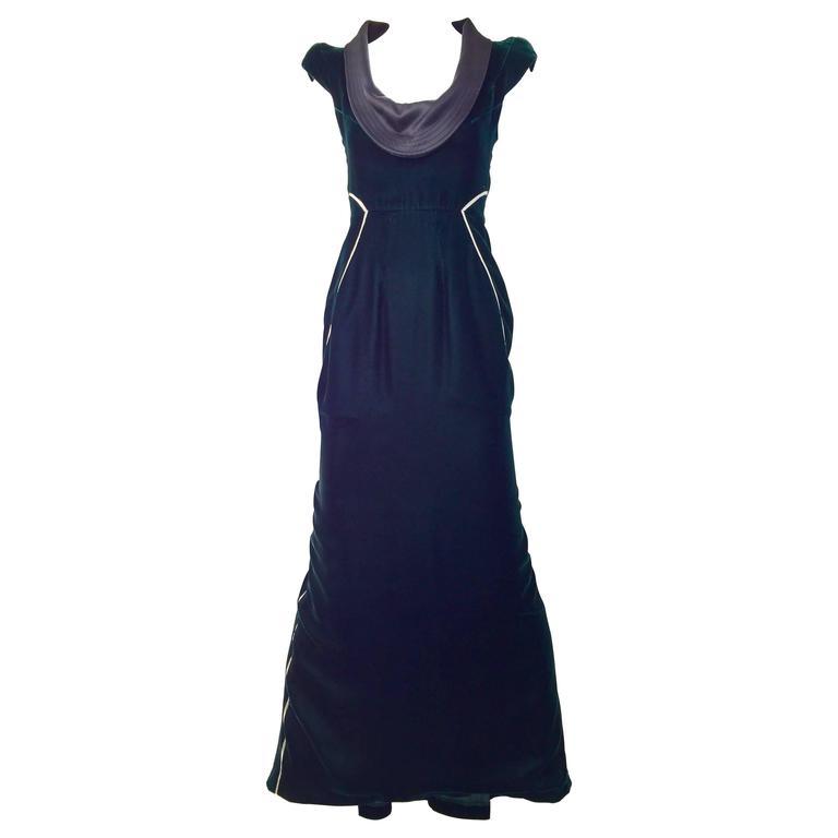 vintage 1990s gianfranco ferre green velvet gown for sale