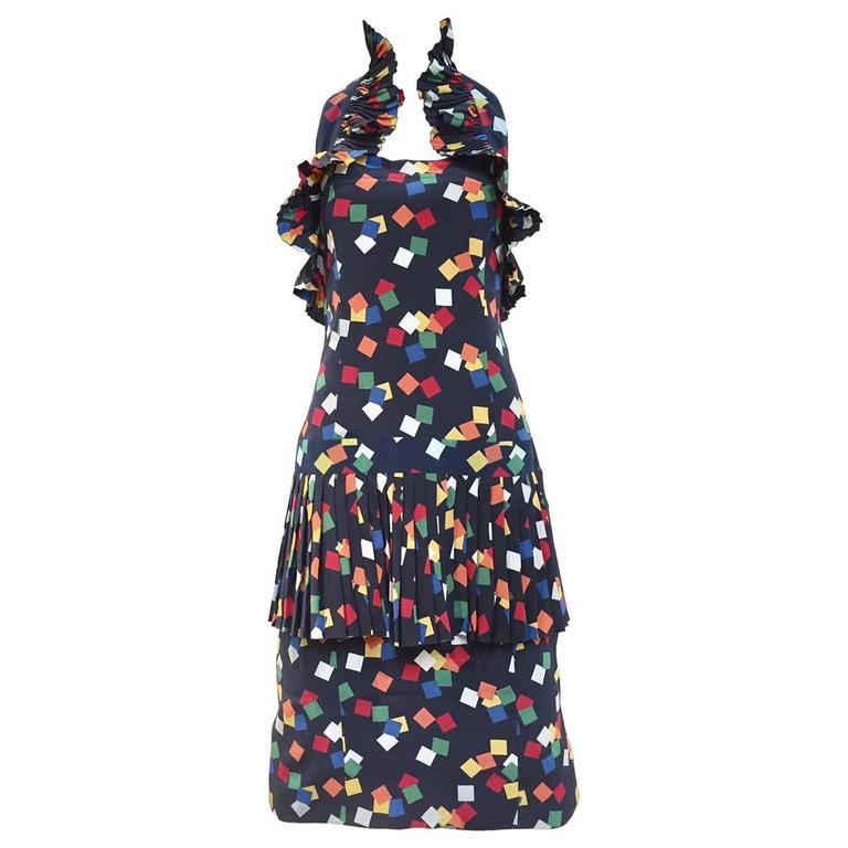 Vintage CHLOE  navy blue confetti print  halter cocktail dress For Sale