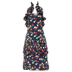 Vintage CHLOE  navy blue confetti print  halter cocktail dress
