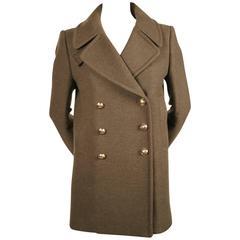unworn BALMAIN khaki melton wool military coat