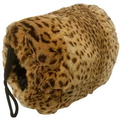 Exotic Animal Print Stamped Fur Muff c 1950s