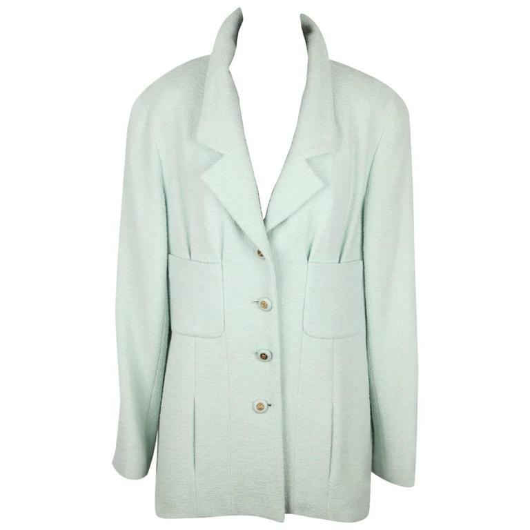 Authentic CHANEL BOUTIQUE 94P Mint Green Wool BLAZER Jacket SIZE 40