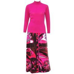 Ultra Mod C.1970 Emilio Pucci Two Piece Sweater & Velvet Maxi Skirt Set