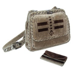 Plush 1960's Giotti Italian Taupe Velvet Trompe L'oeil Handbag