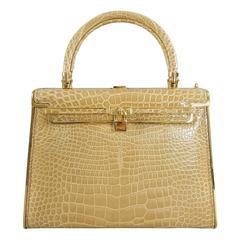 Italian Beige Crocodile Evening Bag - Box Bag