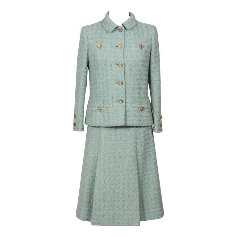 1960 Rare Celadon Chanel Haute -Couture Suit