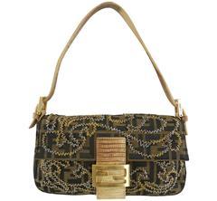 Fendi Zucca Logo Fabric Beaded Baguette Bag with Lizard Trim