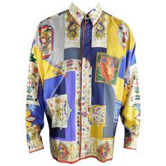 Gianni Versace 1992 Barocco Silk Printed Shirt - Medieval