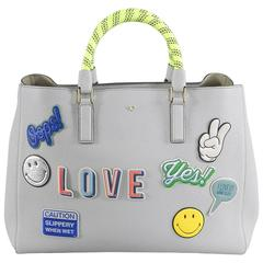 Anya Hindmarch Ebury Large Featherweight bag - Light Blue with Stickers
