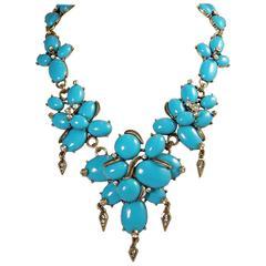 Oscar De La Renta Faux Turquoise Cabochon Necklace