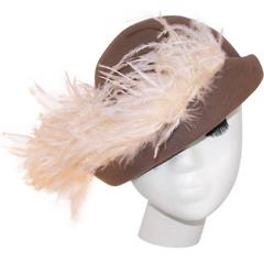 Dandified 1970's Italian Taupe Wool Cavalier Hat With Ostrich Plumes