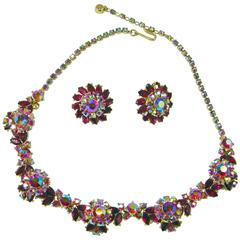 Trifari Vintage Red Aurora Borealis Necklace and Earrings Set