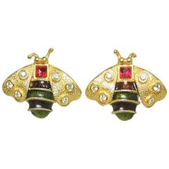 Vintage Signed Yosca Bumble Bee Clip Earrings