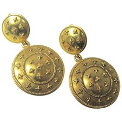 Vintage Chanel Double Disk Round Drop Earrings