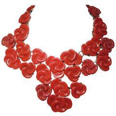 Vintage Oscar De La Renta Red Swirl Floral Bib Necklace