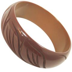 Vintage Brown Carved Bakelite Bangle Bracelet