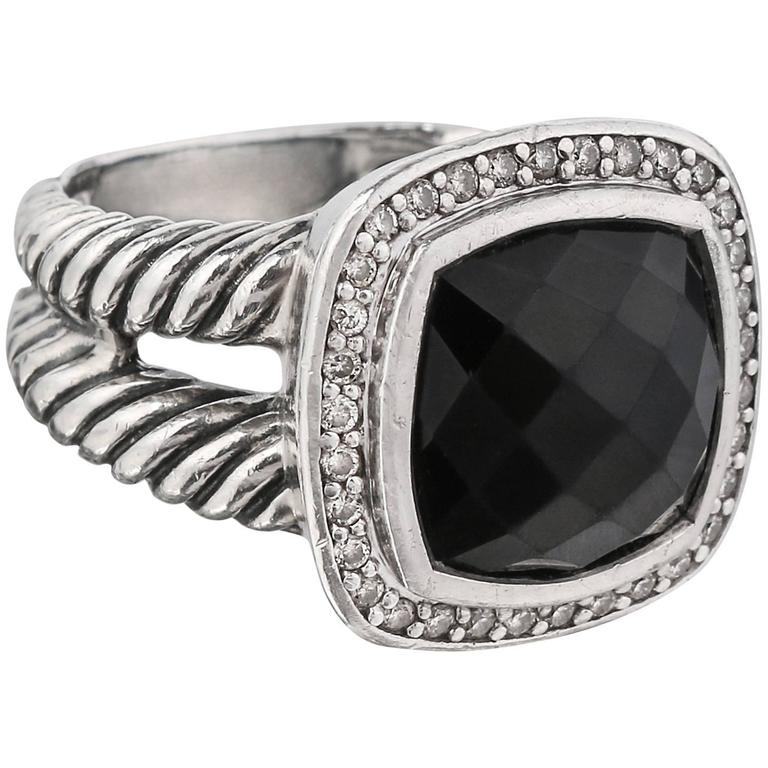 DAVID YURMAN Albion Black Onyx Diamond Sterling Silver Cable RIng ...