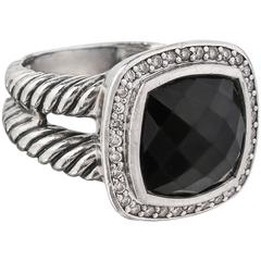 f0b8bcfec2 DAVID YURMAN Albion Black Onyx Diamond Sterling Silver Cable RIng