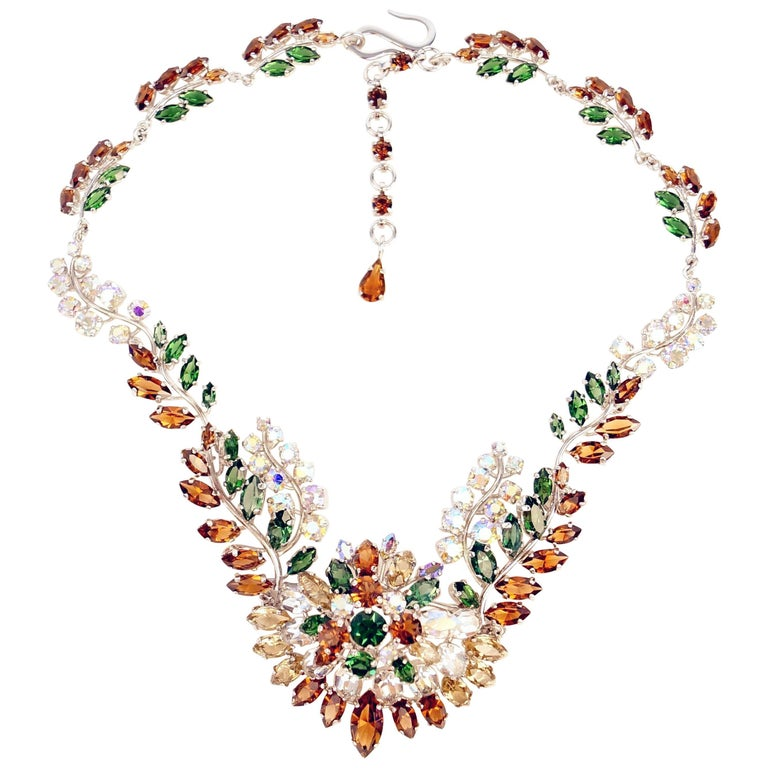 1958 Christian Dior Haute Couture Floral Rhinestone Necklace 1