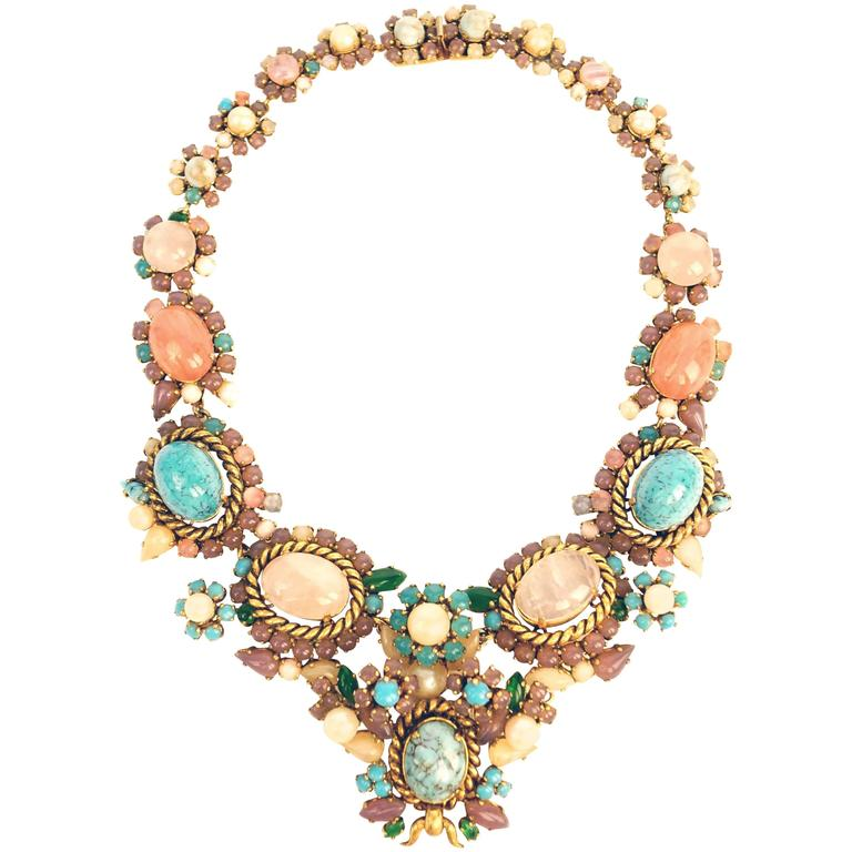 1960s Dior Haute Couture Made in Germany Pastel Cabochon Necklace For Sale