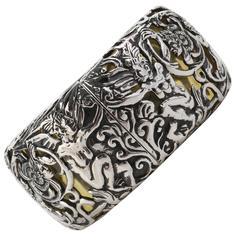 MIRIAM SALAT Amber Resin Sterling Silver Mythological Cuff Bracelet