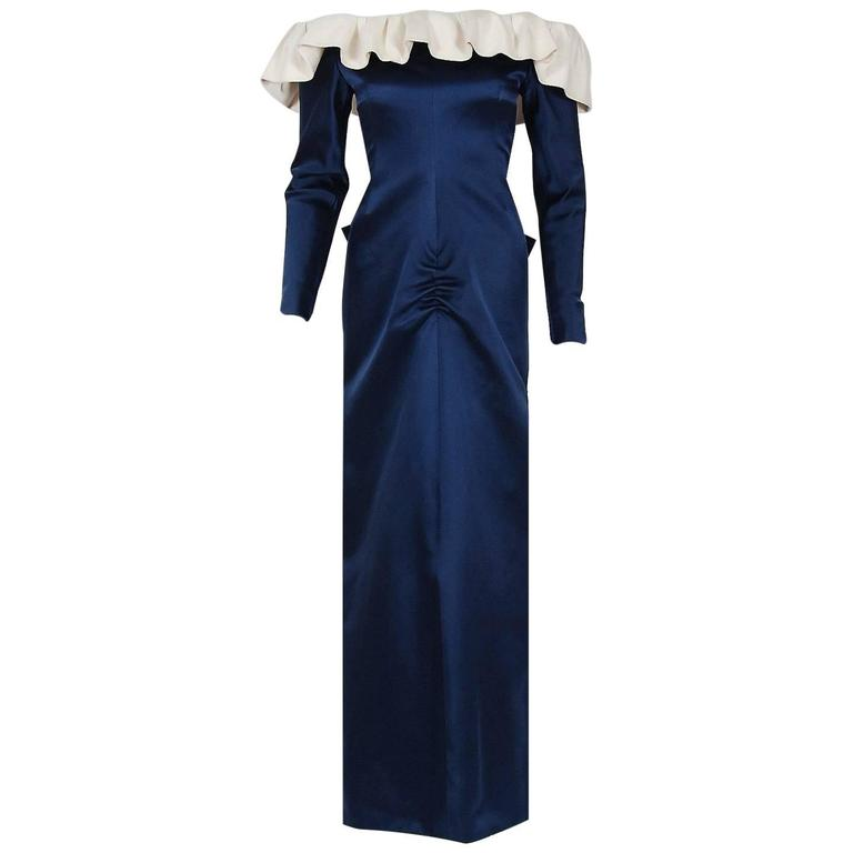 1979 Givenchy Haute-Couture Navy & Ivory Satin Off-Shoulder Ruffle Evening Gown
