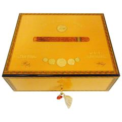 Men's Elie Bleu Tabletier Medals Flora Fina Mahogany Humidor for 75 Cigars