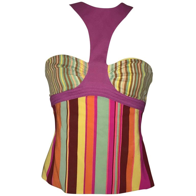 Gianni Versace Couture 1990s Multicolor Striped Silk Halter Tank Top  For Sale