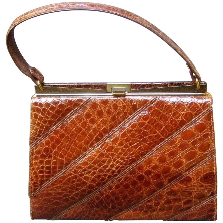 Chic Genuine Brown Alligator Handbag ca 1960  For Sale