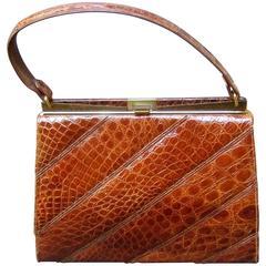 Chic Genuine Brown Alligator Handbag ca 1960