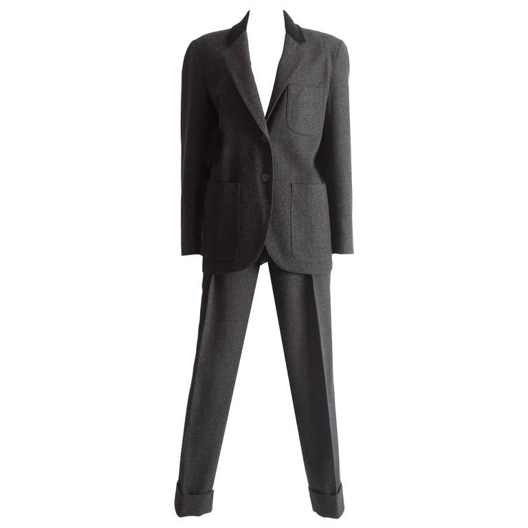 Alaia plus sized charcoal gray wool pant suit with velvet collar, AW 1987