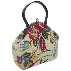 Rose Covered C.1960 Jana Carpetbag Handbag With Black Leather Handle