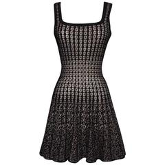 2010s Alaia Pink and Black Mini Skater Dress